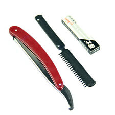 Disposable with 10 Replacement Blades Reusable Straight Razor Plastic Handle HOT