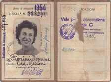 TESSERA FERROVIE DELLO STATO DI RICONOSCIMENTO DIPENDENTE 1954 TORINO 19-97