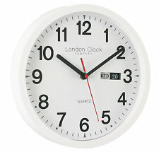 LONDON CLOCK COMPANY SIMPLE WHITE DAY DATE 25.5CM WALL CLOCK