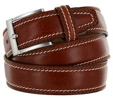 Mens Italian Leather Dress Casual Belt Made in Italy - Marrone, 40