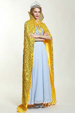 "Sparkling Scaled Sequin Cloak 71"" Long Cape Satin Lotus Collar Cowl Formal Dress"
