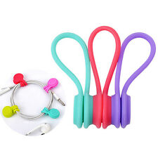 9x Silicone Magnet Earphone Cord Winder Cable Holder Organizer Clip Random Color