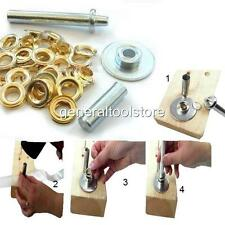 LARGE EYELET SET KIT HOLE PUNCH AND PLIER TYPE TOOL + EYELETS 13 mm  BRASSED
