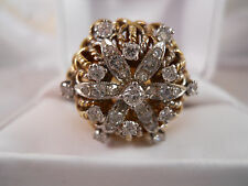 ANTIQUE HEAVY 17.39G WIDE PLATINUM 18K SOLID GOLD 1CT VS1 DIAMOND RING 18KT SZ 7
