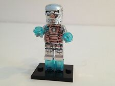 Super Heroes Custom Silver Chrome Iron Man Compatible Minifigure +1 Lego Brick