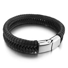 MENDINO Men's Stainless Steel Leather Bracelet Braided Wristband Clasp Bangle