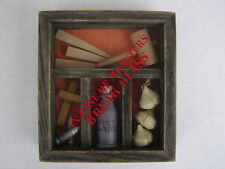 VAMPIRE WITCH EMERGENCY WOODEN SHADOWBOX GARLIC HOLY WATER STAKE HALLOWEEN