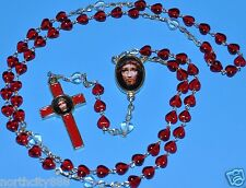 Precious Blood of Christ Chaplet Rosary Necklace Chaplet Red Heart shape Beads