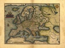 Grande Europeo Map A1 Medidas 76.2x58.4cm Antiguo Ortelius Nuevo Color