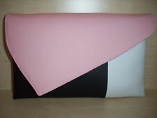 OVER SIZED PALE PINK, BLACK & WHITE faux leather Clutch bag, fully lined UK made