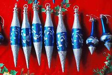 Lot of 19 Shatter Proof Taper Christmas Ornaments - Blue Silver Glitter Sparkle