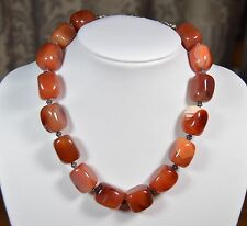 NWT BARSE Signed Carnelian Agate Chunky Stone Bead Necklace SS .925