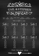 A3 Chalkboard style wedding table seating plan (A2 also available)