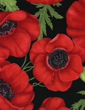 Gorgeous Large Red Poppies, Green Leaves, Black, Timeless Treasures (By 1/2 yd)