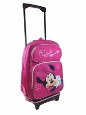 "Disney Minnie Mouse 16"" Rolling Luggage Travel Backpack Suite Case for Kids"
