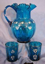 Antique 19thC HP Enamel Glass Water Lemonade Ruffled Blue Pitcher & Tumbler SET