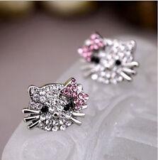 Modish Lovely Cute Cat Bow-knot Silver Crystal Rhinestone Ear Stud Earrings Best