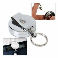 Retractable Key Chain Stainless Steel Recoil Ring Belt Clip Pass ID Holder Hot