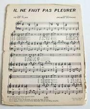 Partition sheet music PETER FLAM / JACQUES DUTRONC Il ne Faut Pas Pleurer * 60's