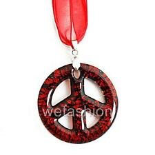 Silver Red Symbol of Peace Lampwork Glass Murano Bead Pendant Ribbon Necklace