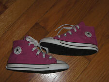 CONVERSE ALL STAR HIGH TOP HOT PINK SNEAKERS CANVAS LITTLE GIRL SZ 10 PRE-OWNED