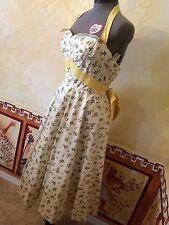 Vintage 50s Size M Halter Sundress EC Full Circle Swing Skirt Prom Dress Wing Bu
