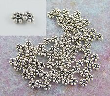 100 Bali Sterling Silver 4mm Daisy Spacer Beads