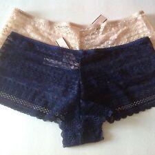 2 VICTORIA'S SECRET lace shortie panty Cotton Lingerie ensign blue / nude S