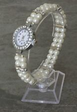Pearl Silver Watch for Ladies Beaded Bracelet Watch Bridal Jewellery