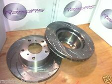 SLOTTED DISC BRAKE ROTORS TO SUIT SUBARU FORESTER IMPREZA OUTBACK WRX +QFM PADS