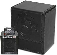 Black Leatherette Deck Box MTG Protector - Magnetic Closure - 80 Card Storage