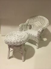 "American Girl?? 18"" Doll White Wicker Furniture Set Chair And Table (NO Doll)"