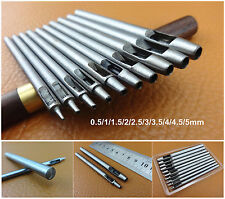 10pcs 0.5-5mm Leather Craft Hollow Hole Punch Tool Kit Set F Wallet Bag Gasket