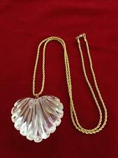 BIG Bold Chunky Clear Lucite Heart Pendant on Gold Tone Monet Chain Necklace