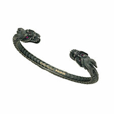 Deakin and Francis Sterling Silver Oxidised Dragon Bangle Ruby Eyes