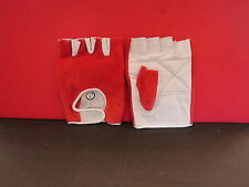 FINGERLESS GLOVES - PALM IS WHITE LEATHER BACK IS RED TOWELLING - EXTRA LARGE