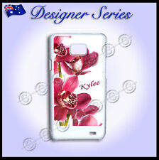 Samsung Galaxy S2 i9100 case Personalised cover Orchid Pretty Pink Red Flower 65