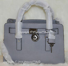 NWT MICHAEL KORS Hamilton Medium Satchel Leather Bag Purse Handbag Dove Gray