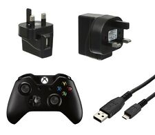 Negro USB Cargador De Red Pared Plug & 2M Micro Cable de datos para Xbox One Controller