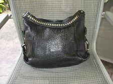 Kenneth Cole gorgeous leather with silvertone herringbone strap shoulder bag