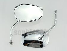 CHROME TAPERED TEARDROP REARVIEW SHORT STEM MIRRORS F HARLEY MOTORCYCLE CRUISER