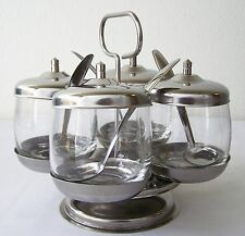 CONDIMENT CADDY Set GLASS & STAINLESS STEEL Revolving FOUR Jars Lids Spoons Base