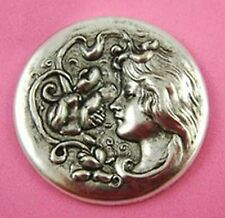 "Art Nouveau (Jugendstil) Antique Silver Medallion ""Daffodil Lady"" - Vintage"