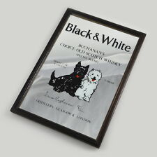 Black & White Scotch Whisky - Barspiegel - Holzrahmen - Spiegel - Vintage Mirror