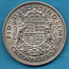 1937 KING GEORGE VI SILVER CROWN COIN. ROYAL ARMS REVERSE. (CLEANED)