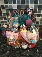 Enesco Mice Sewing Basket Music Box Plays Whistle While You Work RARE MINT