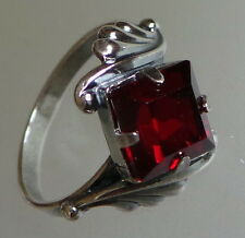 RUSSIAN MADE red ruby crystal silver plated ring size Q 18 mm