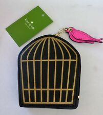 KATE SPADE JADE DRIVE Black & Gold Bird Cage Coin Purse WLRU2285 NWT