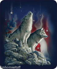 "PATRIOTIC WOLVES WOLF STARS QUEEN SIZE 79"" X 96"" SOFT MEDIUM WEIGHT BED BLANKET"