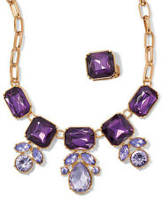 Avon Lilac Dreams Necklace and Ring Gift Set Purple Goldtone NIB